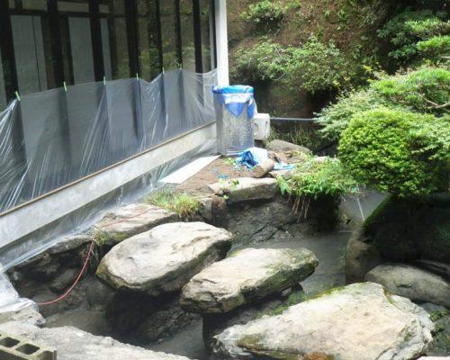 ①いったん池の水を抜き、大きなコイも引越をしてからの作業です。