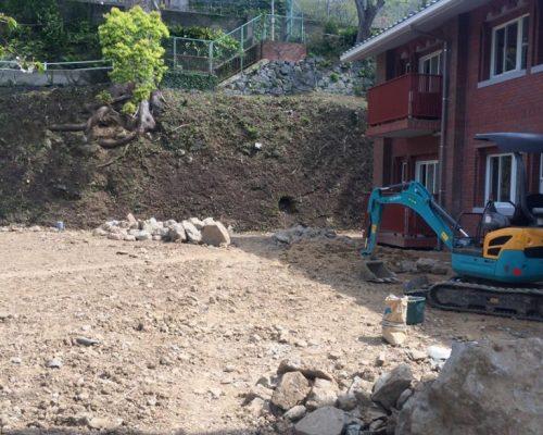②造成時に発生した石材は再利用の予定です。
