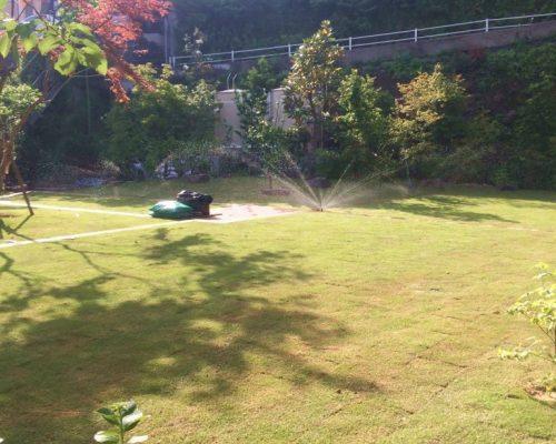 ㉕スプリンクラーによる自動灌水装備も設置しました。
